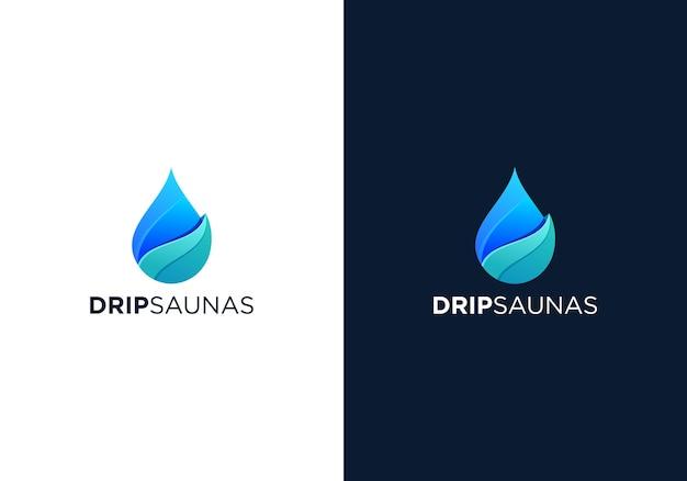 Druppelsauna's logo ontwerp Premium Vector