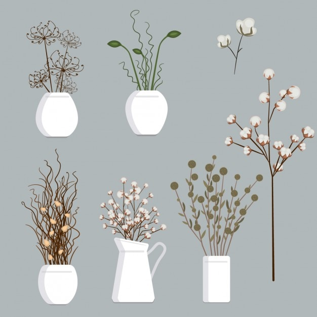 Dry flowers collection Gratis Vector