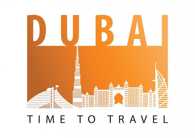 Dubai beroemde bezienswaardigheid silhouet stijl Premium Vector