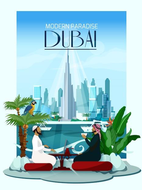 Dubai city poster met burj khalifa en wolkenkrabbers Gratis Vector