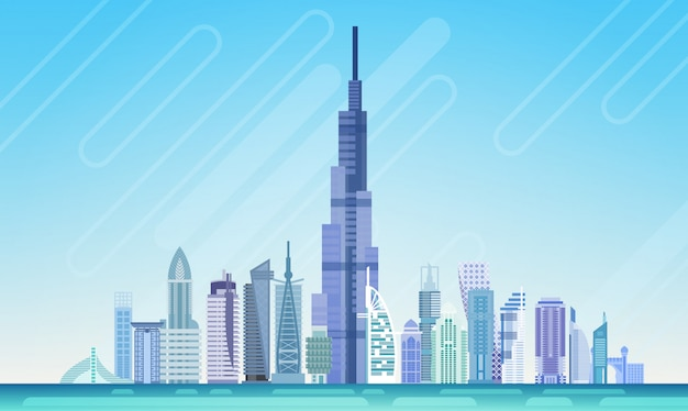 Dubai city wolkenkrabber weergave cityscape skyline Premium Vector