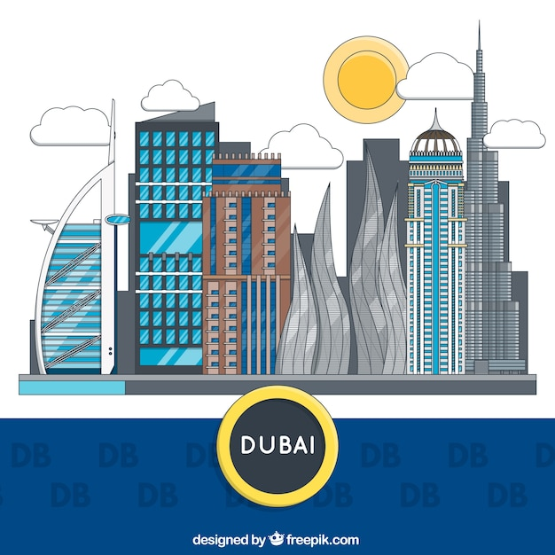Dubai gebouwen Gratis Vector