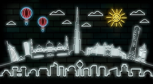 Dubai reizen en reis neonlicht achtergrond. Premium Vector