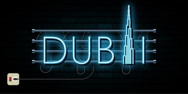 Dubai reizen en reis neonlicht achtergrond Premium Vector