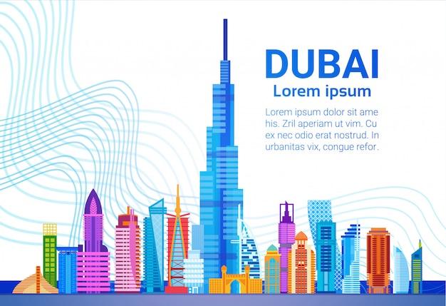 Dubai skyline panorama, modern gebouw cityscape zakenreizen en toerisme concept Premium Vector