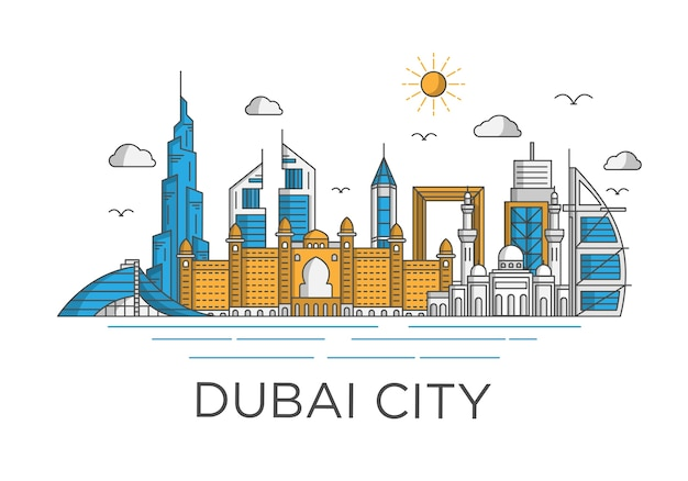 Dubai stad skyline achtergrond met iconische concept Premium Vector