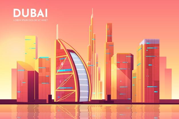 Dubai, vae cityscape architectuurillustratie. Gratis Vector