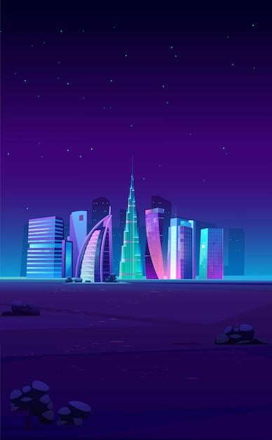 Dubai, verenigde arabische emiraten skyline met wereldberoemde gebouwen Gratis Vector
