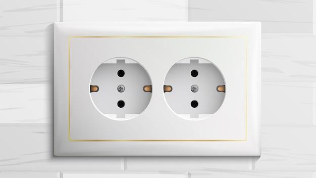 Dubbel geaard stopcontact Premium Vector