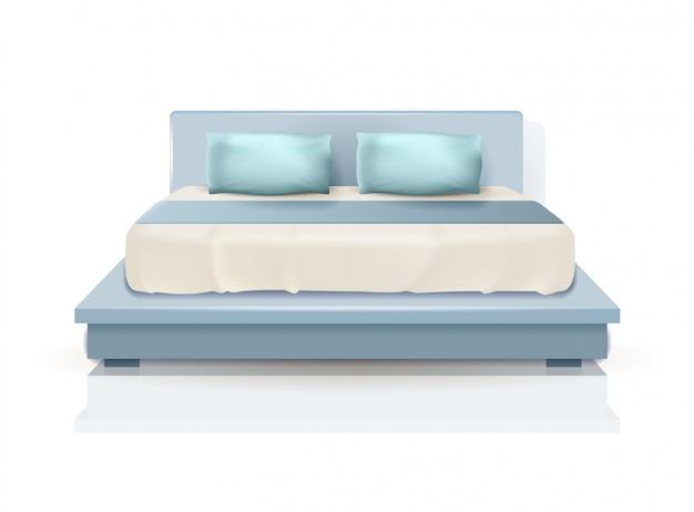 Dubbel kingsize bed met blauwe kussens en deken Premium Vector