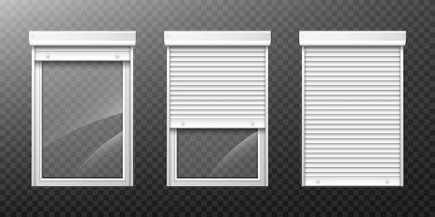 Dubbel raam met rolluik omhoog en dicht Gratis Vector