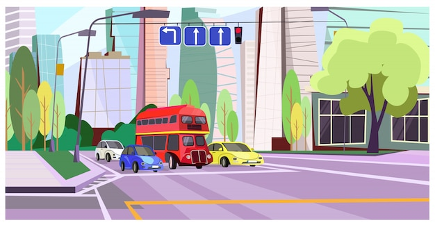 Dubbeldekkerbus en auto's bij rood lichtillustratie Gratis Vector
