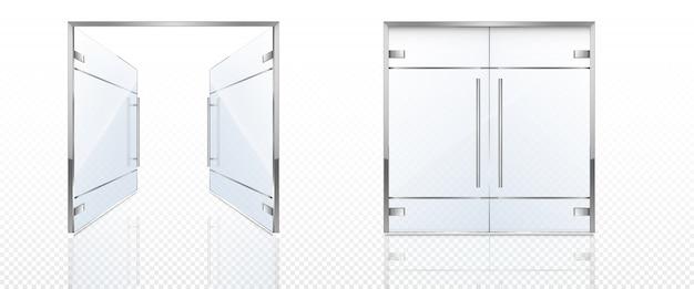 Dubbele glazen deuren met metalen frame en handgrepen. Gratis Vector