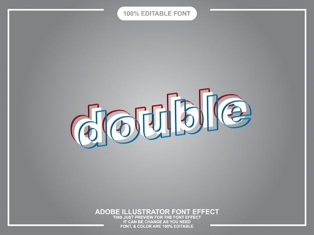 Dubbele tekst grafische stijl illustrator bewerkbare typografie Premium Vector