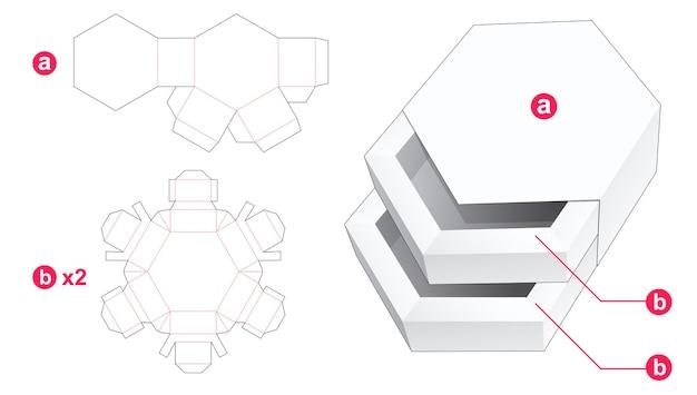 Dubbele zeshoekige lade met gestanste omslagmal Premium Vector