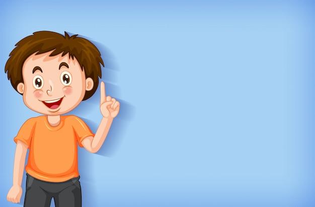 Duidelijke achtergrond met jongen die zijn vinger richt Gratis Vector
