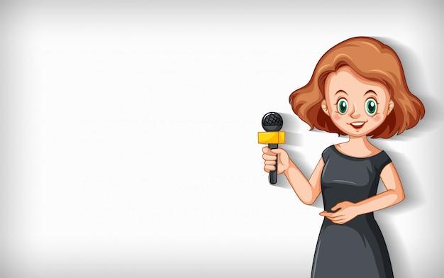 Duidelijke achtergrond met vrouwelijke verslaggever die op microfoon spreekt Gratis Vector