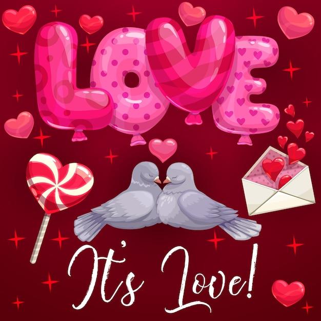 Duifvogels, harten, liefdesballons. valentijnsdag Premium Vector