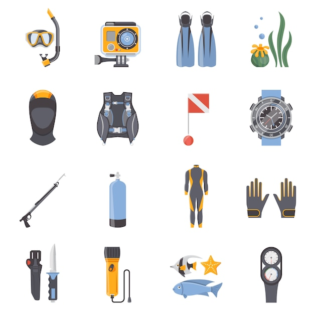 Duiken en snorkelen flat decoratieve pictogrammen Gratis Vector