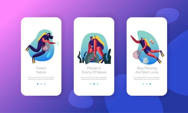 Duikers zwemmen in de oceaan drijvend zeeafval verzamelen in vervuild water mobiele app-pagina schermset aan boord. Premium Vector