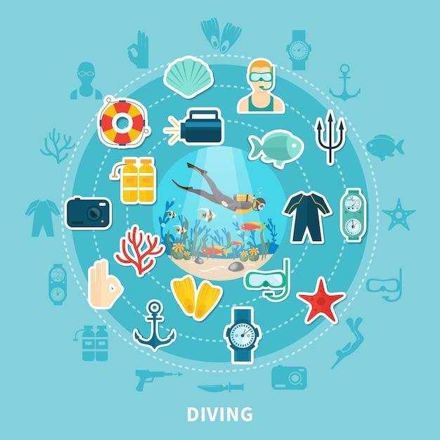 Duikronde compositie met duikuitrusting, reddingsboei en onderwaterdieren Gratis Vector