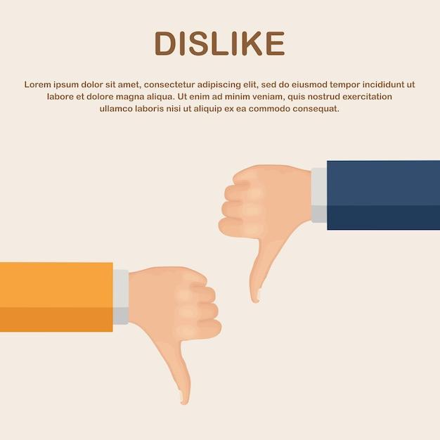 Duim omlaag hand. afkeer, teleurgestelde, slechte feedback van klanten, afkeuren Premium Vector