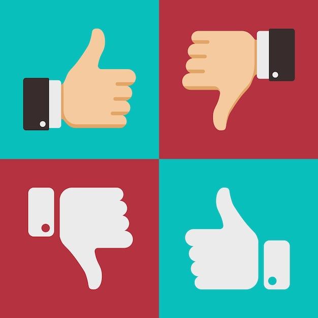 Duimen omhoog zoals hekel aan iconen voor sociale netwerk webapp. symbool hand met duim omhoog. vector illu Premium Vector