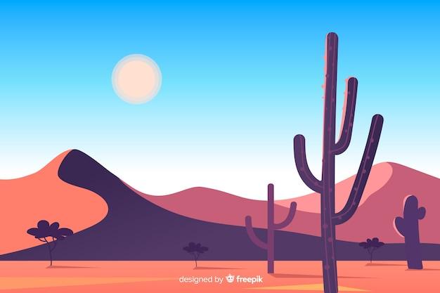 Duinen en cactus in woestijnlandschap Gratis Vector