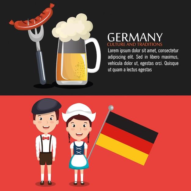 Duits cultuurontwerp Gratis Vector