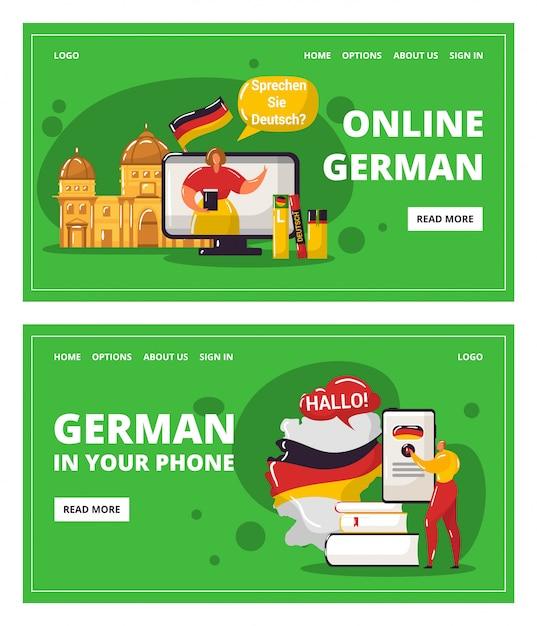 Duits leren online met leraar, onderwijs in uw telefoonillustratie. Premium Vector