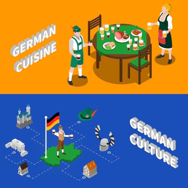 Duitse cultuur voor toeristen isometrische karakters Gratis Vector