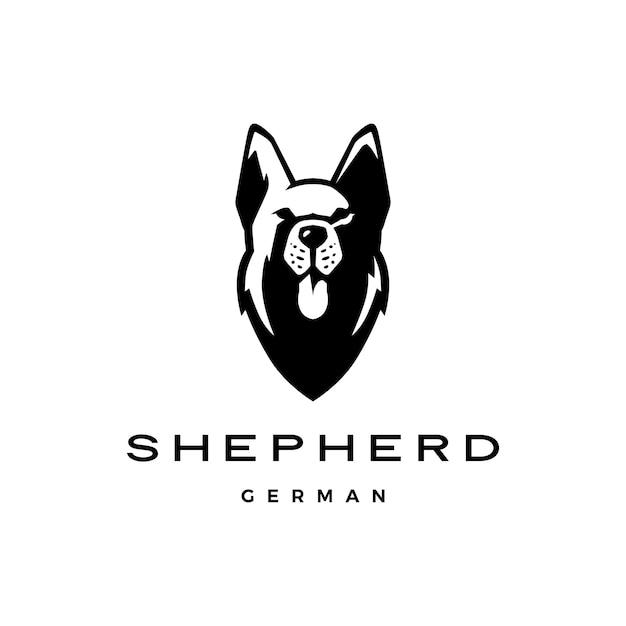 Duitse herder hoofd hond logo Premium Vector