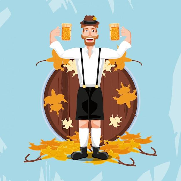 Duitse man met bier meest oktoberfest feest Premium Vector