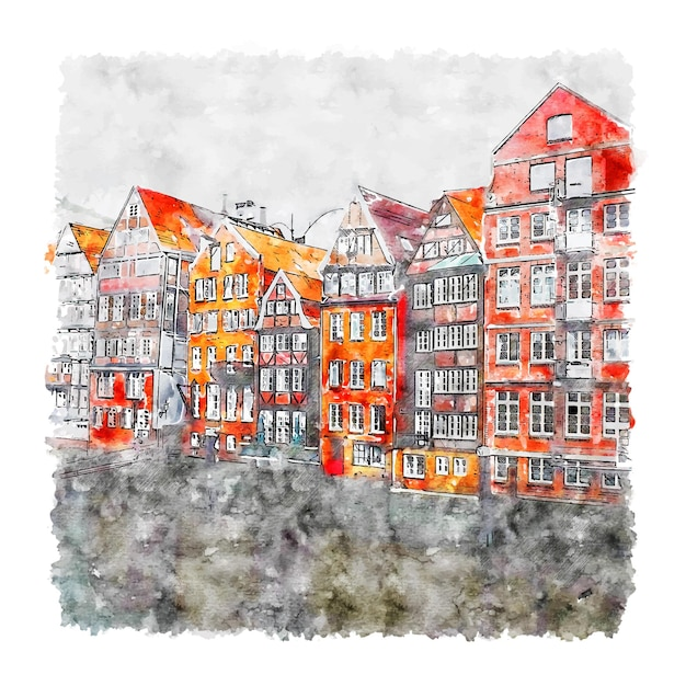Duitsland humburg aquarel schets hand getrokken illustratie Premium Vector