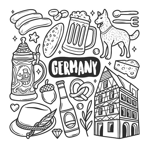 Duitsland pictogrammen hand getrokken doodle kleuren Gratis Vector