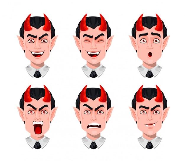 Duivel emoties. verschillende gezichtsuitdrukkingen Premium Vector