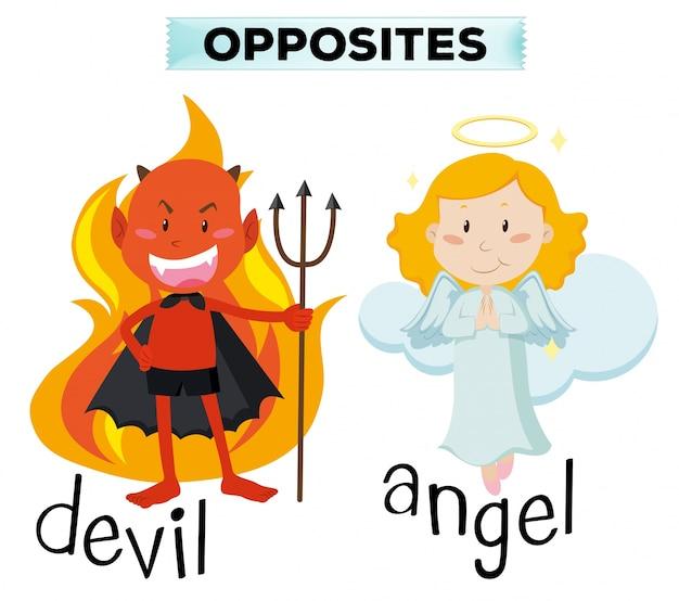 Duivel en engel karakters op witte illustratie Gratis Vector