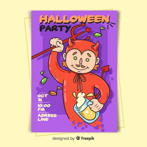 Duivel in rode halloween-partijaffichemalplaatje Gratis Vector