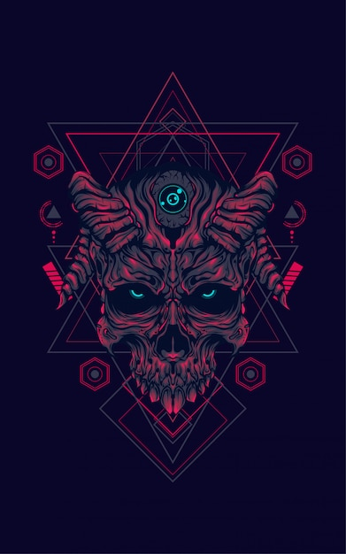 Duivel schedel heilige geometrie Premium Vector