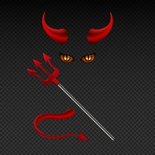 Duivelshoornen, harpoen, satanische gele ogen en staart geïsoleerde vector photobooth rekwisieten voor helparty. illustratie van satan of duivel met hoorn Premium Vector