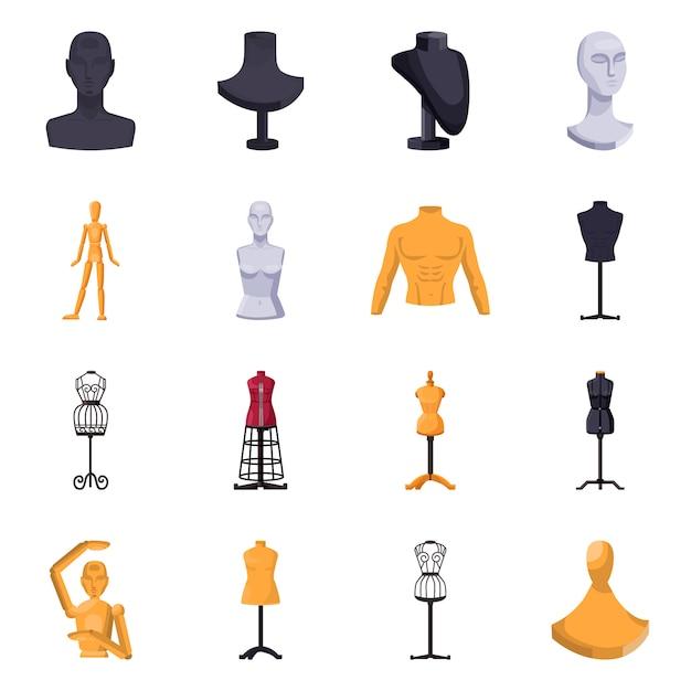 Dummy vrouw voor atelier cartoon-elementen. geïsoleerde illustratie van mannequin voor kleermaker. verzameling elementen dummy. Premium Vector