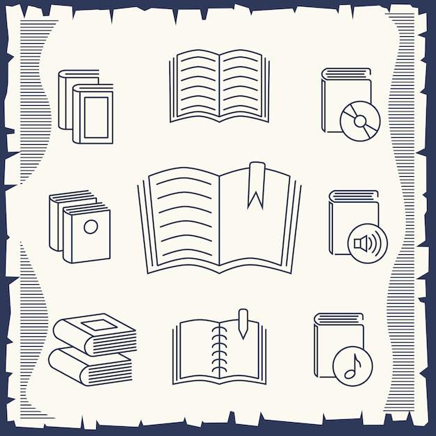 Dunne lijn boekencollectie op vintage Premium Vector