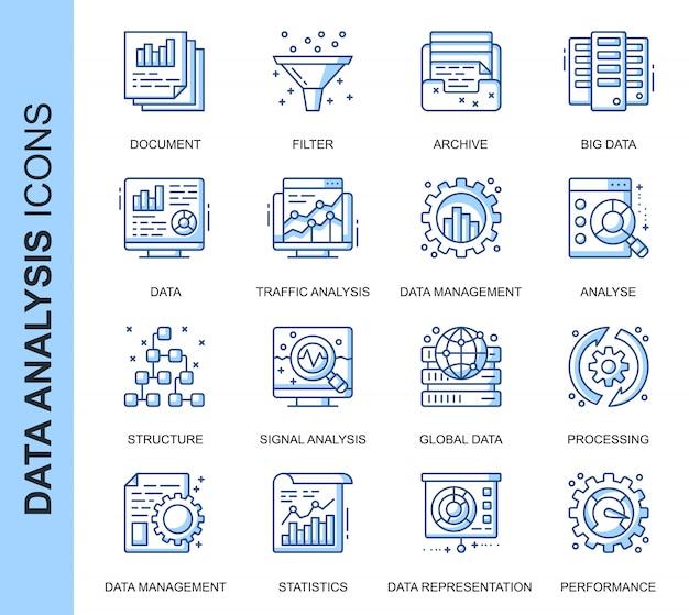 Dunne lijn data-analyse gerelateerde pictogrammen instellen Premium Vector