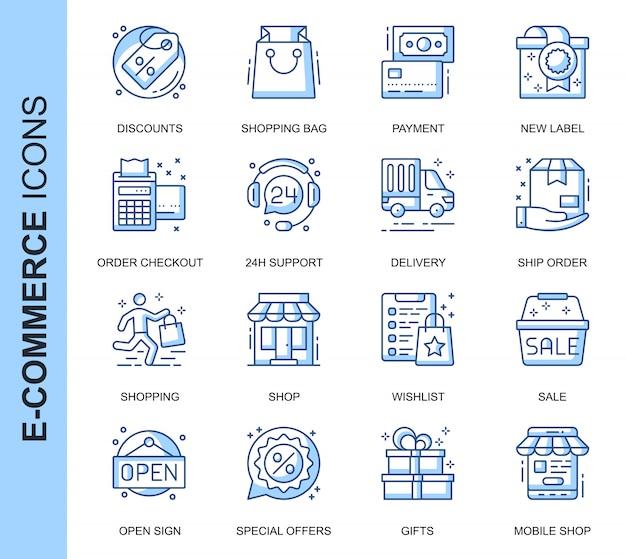 Dunne lijn e-commerce gerelateerde pictogrammen instellen Premium Vector