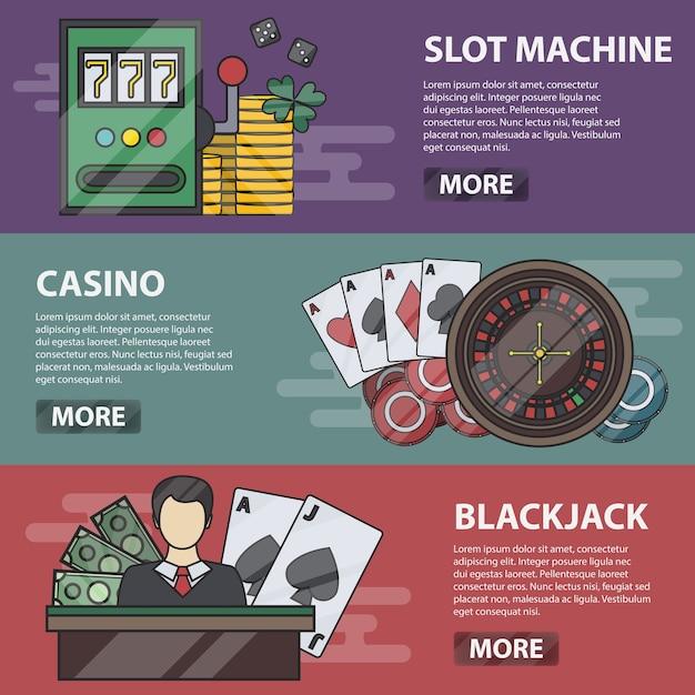 Dunne lijn horizontale banners van gokautomaat, casino en blackjack. bedrijfsconcept van geldspel, poker, online gokken en passie. set casino-elementen. Premium Vector
