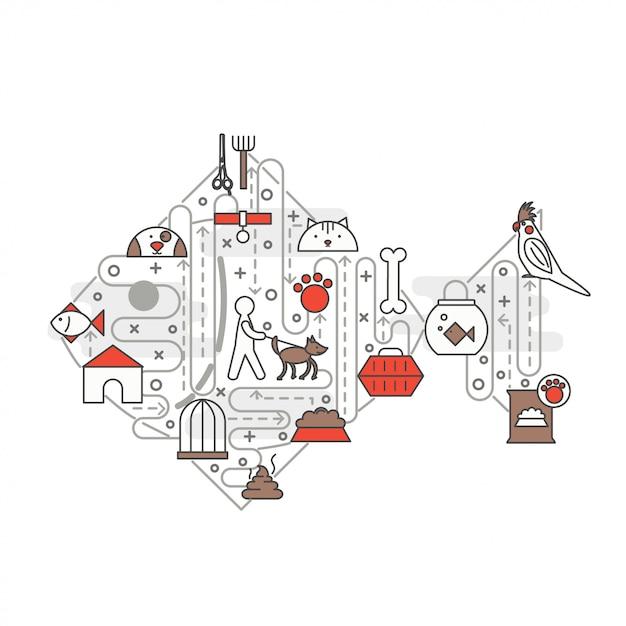 Dunne lijn kunst huisdieren poster sjabloon voor spandoek Premium Vector