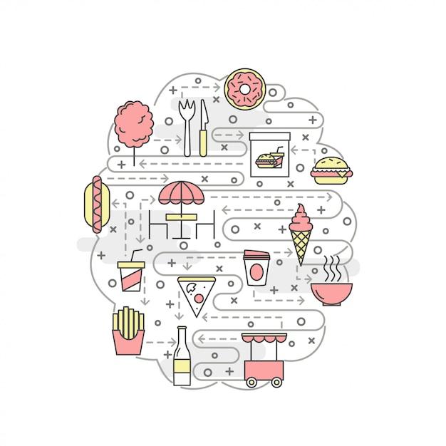 Dunne lijn kunst straatvoedsel poster sjabloon voor spandoek Premium Vector