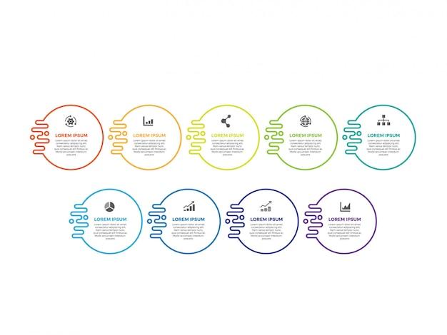 Dunne lijn minimale infographic ontwerp Premium Vector