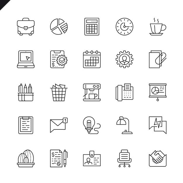 Dunne lijn office-pictogrammen instellen Premium Vector