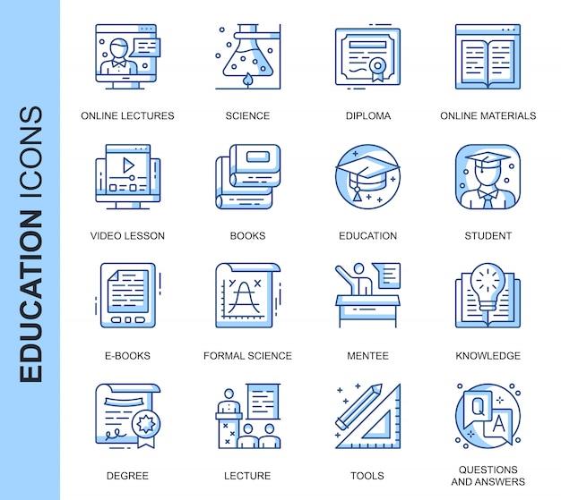 Dunne lijn onderwijs gerelateerde pictogrammen instellen Premium Vector